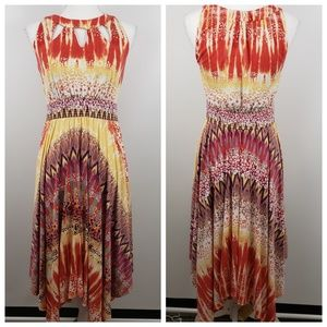 Soma sm sleeveless maxi dress red tie dye cut-out